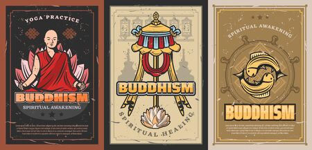 Buddhism religion posters with vector religious symbols of buddhist. Tibetan monk prayer wheels, Buddha and dharma wheel, parasol symbol of power, lotus flower and fishes, temple stupa, endless knot
