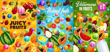 Vitamins in fruits, health food and dieting benefits vector design. Exotic papaya, orange and mango, garden apple, grapes and watermelon, banana, lemon, fig, kiwi and peach with blank plastic bottle Stok Fotoğraf - 133939058