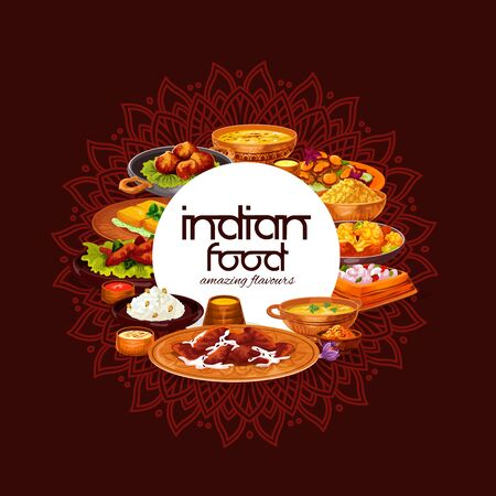 Indian food vector design of rice pilau, chicken meat curry and lentil shrimp soup, cheese paneer, vegetable stew, battered prawns and spice sauce. Restaurant menu cover with oriental ornaments