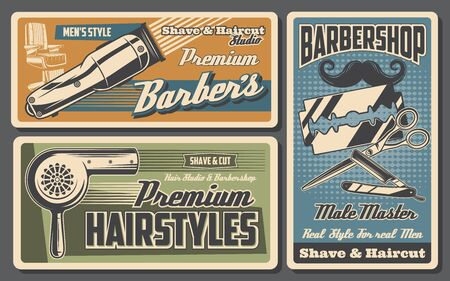Barbershop, hairstyle and beard salon vector design with mustaches, barber or hairdresser chair, straight razor, scissors and razor blades, haircut machine and hair dryer. Male master studio posters