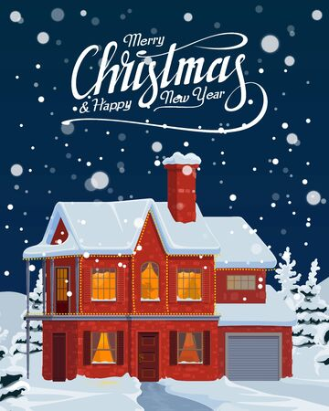 Christmas holiday house with festive Xmas lights vector greeting card. New Year winter holidays home with snowy roof, chimney and decorated windows, falling snow, pine and fir trees