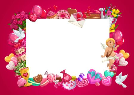 Valentines Day blank card with love hearts and gifts vector frame. Cupid, letter envelope and flower bouquets, chocolate cake, candies and balloons, present box, diamond, ribbon bow with copy space