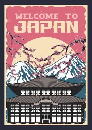 Japan travel, vector vintage poster of Japanese culture traditions and famous landmarks. Welcome to Japan, Tokyo Fuji mount and traditional buddhist pagoda temple with sakura cherry blossom