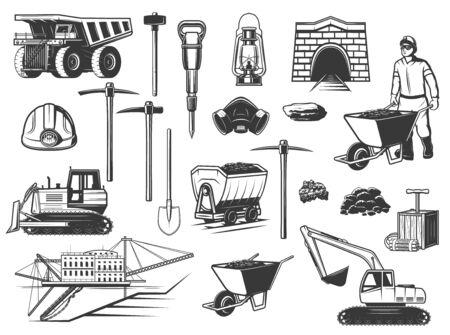 Kolenmijnindustrie, mijnwerker en ondergrondse apparatuur pictogrammen. Vectormijnarbeider, stortplaatsvrachtwagen en helm, houweel, schop en ertskuil, graafwerktuig, graver en spoorkar, olielamp en dynamiet