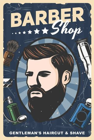 Barbershop retro poster of man with beard and mustaches, barber shop and hair salon vector design. Gentleman hairdresser razors, haircut shavers and scissors, shaving brush, comb and cologne Ilustração