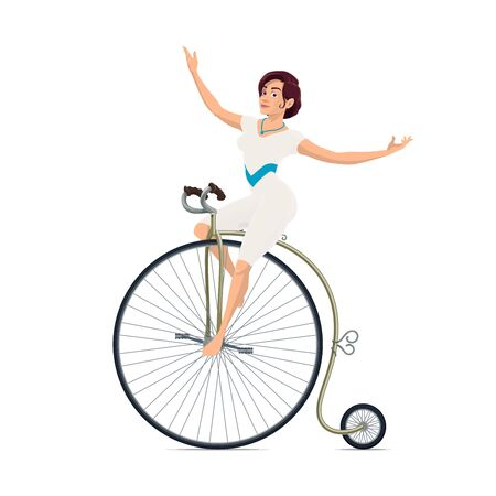 Circus acrobat of carnival show performer riding vintage bicycle. Girl rider with gymnastic suit and bike isolated symbol, amusement park chapiteau performance and entertainment themes