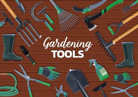 Farm and garden tools on wooden background, vector design of agriculture and farming. Shovel or spade, fork, rake and axe, watering hose, pitchfork and trowel, boots, gloves, saw, pruners and shears