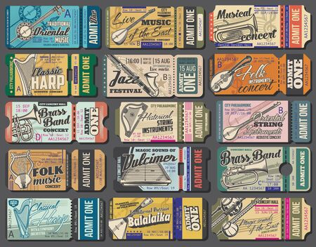 Music concert tickets, vector vintage templates, folk Oriental and classic orchestra music band performance. Jazz festival, european and asian live folk music acoustic and string instruments