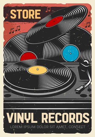 Magasin de disques vinyle, affiche rétro vintage vectorielle, instruments de musique et magasin d'équipement musical DJ. Disques vinyles LP, phonographe gramophone moderne et notes de musique