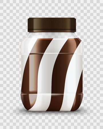 Milk cream and chocolate spread glass jar mockup food, vector. Caramel, peanut butter, nut and cocoa paste realistic package on transparent background, sweet snack and sandwich ingredients Stock Illustratie