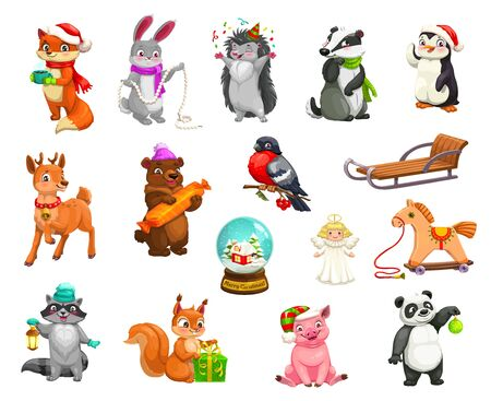 Christmas animals and holiday decorations cartoon icons. Vector animals in Santa hats with Xmas gits, toys and ornaments, reindeer with sleigh in confetti, angel ornament and bunny in winter scarf