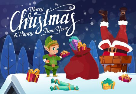 Santa stuck in chimney with Christmas gifts. Vector Claus on snowy roof with Xmas elf and red bag of New Year present boxes, Happy Winter holidays greeting card design