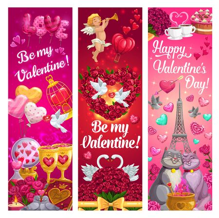 Valentines Day love hearts and bouquets with romantic couple of cats. Vector Cupid, gifts and chocolate cakes, rose flowers, balloons and candies, wine glasses, Eiffel tower, dove and swan birds