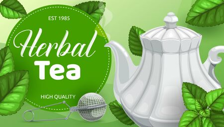 Herbal tea green leaves, teapot with steam of hot beverage and infuser mesh spoon vector design. Drink accessories with fresh foliage of mint, peppermint and sage, lemon balm, oregano and nettle Stock Illustratie