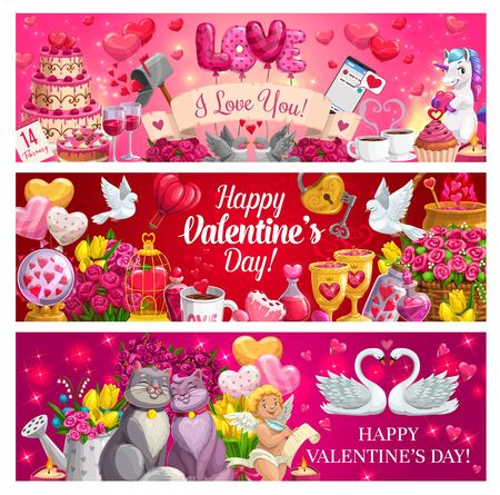 Romantic love gifts of Valentines Day vector banners. Hearts, flower bouquets and chocolate, Cupid, february calendar and message, red balloons, loving couples of cat, dove and swan, key and padlock Ilustrace