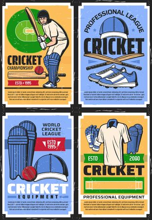 Cricket league championship and professional equipment store, vector vintage retro posters. Cricket sport club team tournament, cricketer player garments bat and ball, hat and keeper gloves Çizim