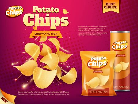 Potato chips advertising of snack food vector design. Realistic packages of crisps, foil bag and paper tube box with crunchy slices of deep fried potato vegetable, spices and salt, junk food promotion