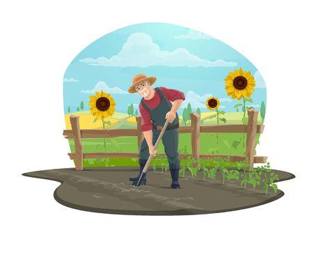 Agricoltore che lavora sull'icona di vettore dell'azienda agricola del design dell'agricoltura. Terreno di scavo del giardiniere con la pala o la vanga in orto, piantine di pomodoro, girasoli, recinzione di legno e campi di grano