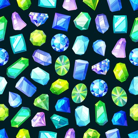 Gemstones, gem jewels, diamonds and jewelry precious stones seamless pattern. Vector background of ruby, sapphire crystal and emerald, opal and amethyst rhinestones, topaz and quartz gems pattern Çizim