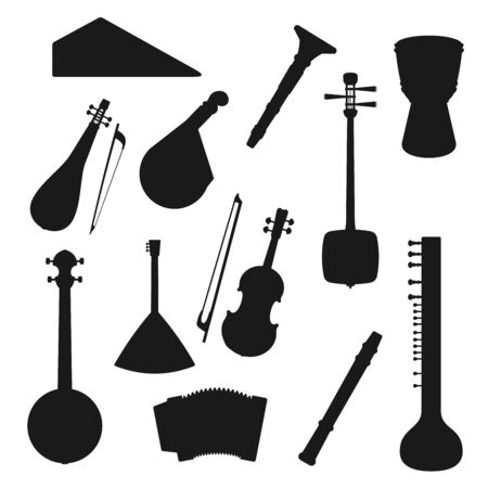Music instruments silhouette icons of jazz, folk and classic orchestra music. Vector isolated Oriental and Asian guitars, mandolin, shamisen and sitar, flute, violin or African drum and accordion