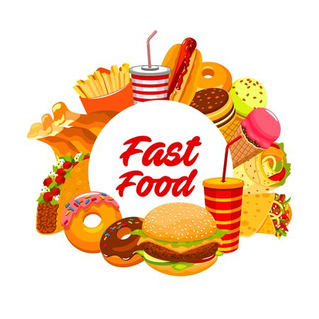 Burgers fast food menu, drinks and hamburgers meal posters. Vector fastfood restaurant sandwiches, chicken grill, hotdog and French fries snacks, fast food takeaway ice cream, coffee and cheeseburger Illustration