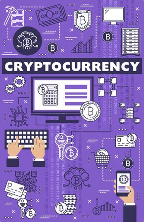 Bitcoin cryptocurrency, blockchain, digital money mining and payment technology. Vector thin line cryptocurrency computer block chain network, online banking and mobile web payments