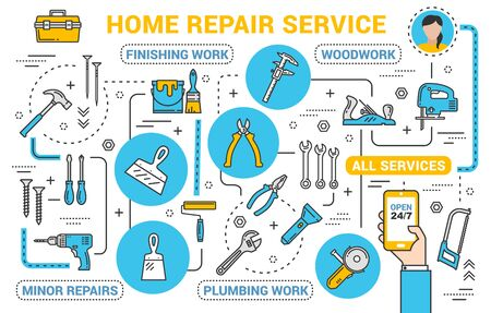 Repair service, construction tools online shop in smartphone. Vector thin line remodeling, renovation and repair, handyman woodwork carpentry and finishing or plumbing work tools Ilustração
