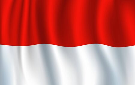 Monaco flag, 3D realistic wavy banner. Vector country national flag, Monaco city-state symbol of red and white stripes on waving banner background