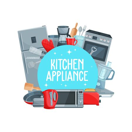Vector home appliance, electric kettle, refrigerator and microwave oven, stove and pan with toaster, mixer blender and coffee maker. Kitchen appliance, household cooking equipment and cutlery