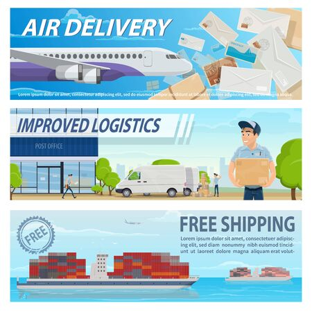 Mail delivery, logistics and freight transportation service. Vector air mail delivery, train and ship container cargo freight, mailman or post courier delivering parcels shipping and letter envelopes