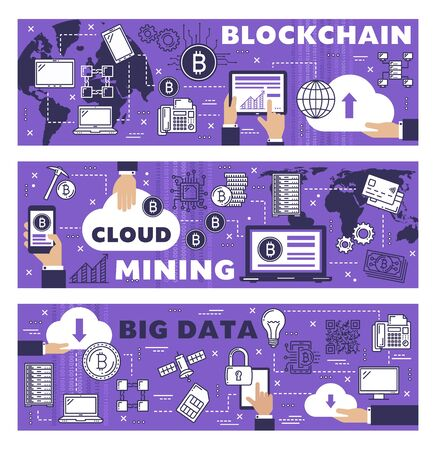 Bitcoin cloud mining, cryptocurrency blockchain technology and crypto payment network. Vector cryptocurrency mining servers in world, cloud computer network data and bit coin wallet