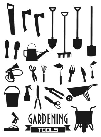 Garden tools icons, shovel rake and farm fork, gardener equipment. Vector gardening trowel, scissors and watering can, pitchfork and wheelbarrow, axe and hoe or spade, saw and plant secateurs