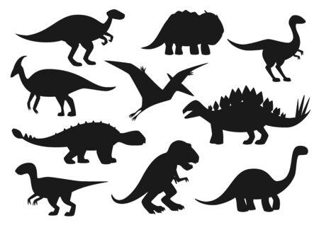Iconos de dinosaurios, siluetas de monstruos de dinosaurios de Jurassic Park. Vector aislar tiranosaurio t-rex, brontosaurio y triceraptor, velociraptor y pterodáctilo, lagarto spinosaurus y estegosaurio