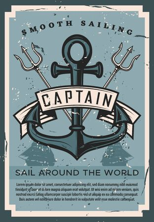 Sail around the world vintage retro poster with ship anchor and marine trident. Vector nautical ocean journey and sailing adventure, frigate boats and anchor, marine seafaring and ocean cruise Illustration