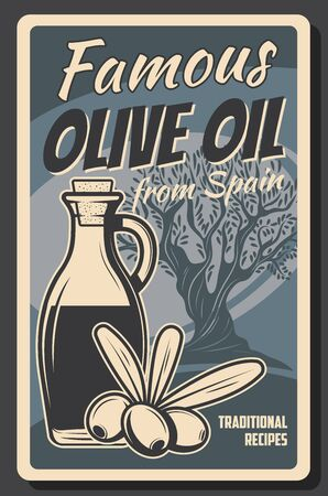 Organic olive oil in bottle and jar, Spanish premium quality food products and cooking vintage retro poster. Vector olive tree, extra virgin oil, healthy natural food recipe