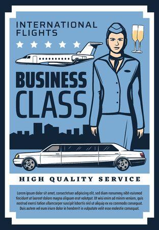 Business class international flights premium quality service vintage retro poster. Vector private jet and business airplane, premium limousine car, civil aviation school pilot and flight attendant Ilustracja