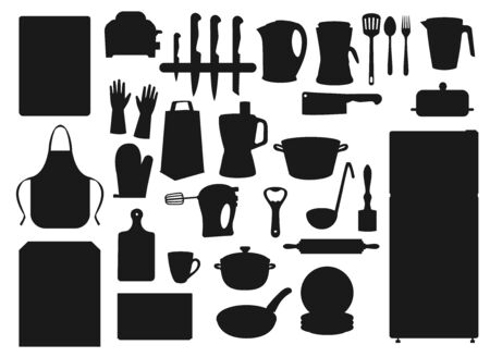 Kitchen appliances, household cooking utensils and kitchenware. Vector cutlery fork and knife, electric kettle, refrigerator and microwave oven, stove and saucepan, mixer blender and cutting board Ilustrace