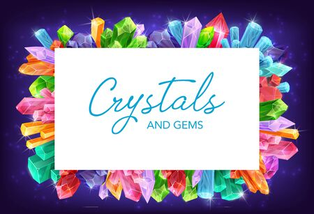 Crystals and gem stones vector frame of gemstones and mineral rocks borders. Diamond, quartz and amethyst precious jewels, glass, salt and brilliant, geology science and magic design