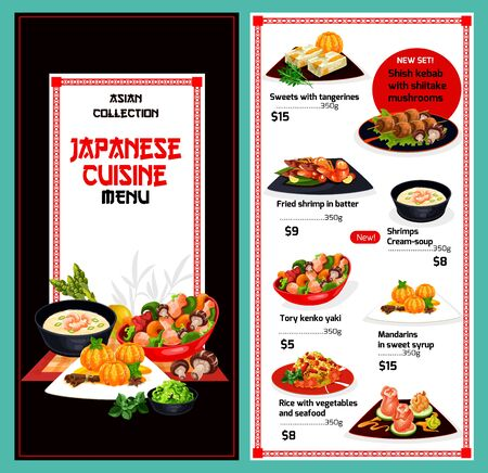 Japanese cuisine menu,traditional Japan restaurant food dishes. Vector menu cover with tangerine and mandarin sweets, fried shrimps in batter and cream soup, seafood with rice and vegetables