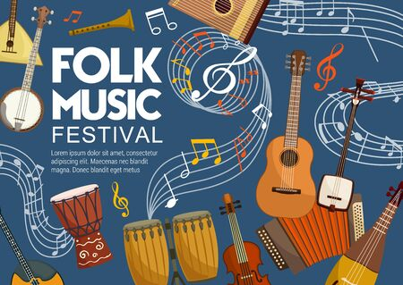 Folk music bands festival poster, musical instruments and note staff. Vector stringed and acoustic folk music african jembe drum and Japanese shamisen, accordion harmonica and mandolin