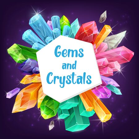 Gems, crystals and minerals with vector gemstones and precious stones of diamond, quartz and sapphire with sparkles. Amethyst, opal and emerald, glass, citrine and topaz, magic crystals and geology