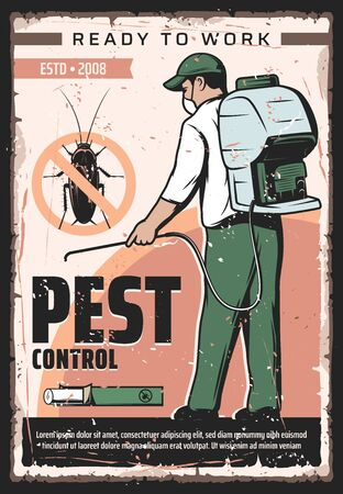 Pest control service, professional home disinsection and domestic bugs extermination vintage retro poster. Vector pest control fumigation and disinsection of parasite cockroaches and insect parasites
