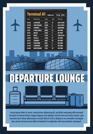 Airport flights time schedule and departure lounge terminal Vector travel and journey theme, international airport departure hall and traveler bags, airlines