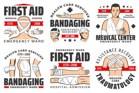 Medical emergency and first aid center ambulance icons. Vector traumatology and surgery clinic or injury and wound medical assistance and ward service for trauma and bandaging