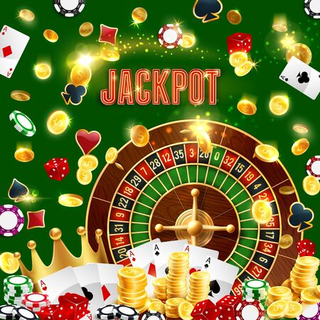 Wheel of fortune, jackpot, casino poker cards and golden coins win splash. Vector roulette, dice and chips. Vegas royal poker game gamble cards, golden crown and sparkles shine