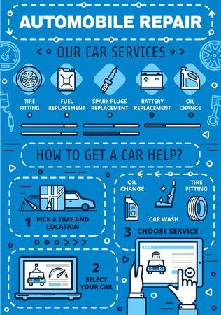 Auto-onderhoud online service, reparatie en diagnostiek autocentrum. Vector motorolievervanging, montage van wielbanden en wasstraat, mechanische restauratie en garagestation