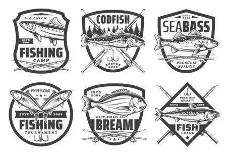 Club de pêche, camp de pêcheurs et icônes de capture de gros poissons. Icônes vectorielles de la pêche en mer et en rivière pour la morue, le bar, la dorade ou le saumon et la truite, les cannes à pêche, les leurres de pêche et les équipements de pêche