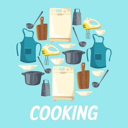 Vector dishwasher, mixer and grater, cooking apron and saucepan with ladle and wooden cutting board, plates and porcelain bowls. Cooking and kitchen appliance, cook utensils and kitchenware cutlery