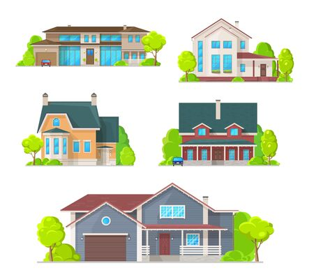 Houses and cottages, village residential buildings vector icons. Real estate and private property architecture, mansions and villas, townhouse apartments and family houses with garage and garden