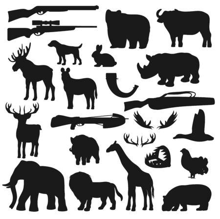 Hunter ammo equipment, hunt wild animals and birds silhouette icons. Vector hunting season deer, elk and beer, African safari hunt lion, giraffe and elephant, rhinoceros, duck and hunter rifle guns Illustration